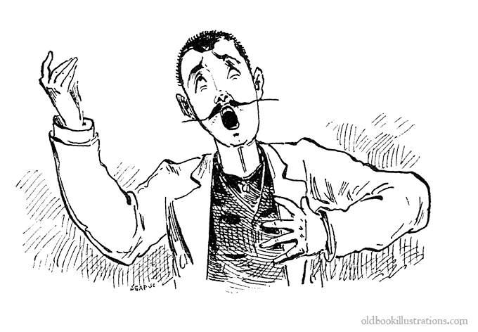 vintage cartoon from 1887 of opera singer