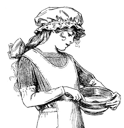 vintage picture of girl with mixing bowl